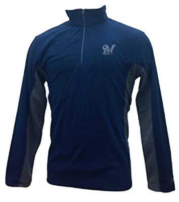 MLB Milwaukee Brewers Fast Athletic Long Sleeve 1/4 Zip Micro Chiller Fleece