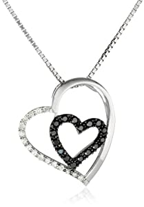 """Sterling Silver 1/4cttw Black and White Diamond Heart Pendant Necklace, 18"""" from The Aaron Group - HK DI"""