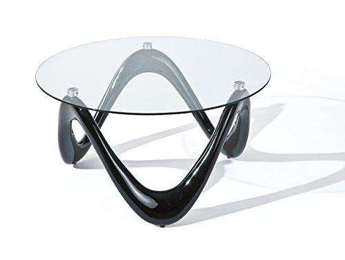 20801370 Couchtisch Valentine, Fiberglas Glas, 80 x 80 x 42.5 cm, schwarz