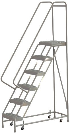 Tri-Arc WLAR106165 6-Step All-Welded Aluminum Rolling Industrial & Warehouse Ladder with Handrail, Grip Strut Tread, 16-Inch Wide Steps
