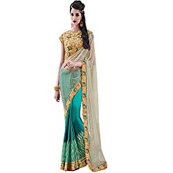 PartyWear Designer Satin Chiffon Shaded Blue Color Saree Designed by vasu saree