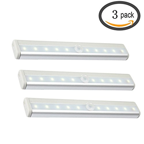 Cooo Stick-on 10 LED PIR Wireless Motion Sensor Light Closet Cabinet Drawer Step Night Light DIY With Magnetic Strip, Battery Powered Bar Lamp – Cool White 3-Pack