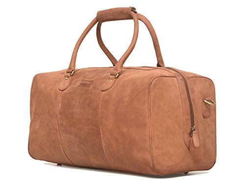 Leaderachi - 100% Pure Genuine Real Vintage Hunter Leather Handmade Unisex Large Travel Luggage Bag [