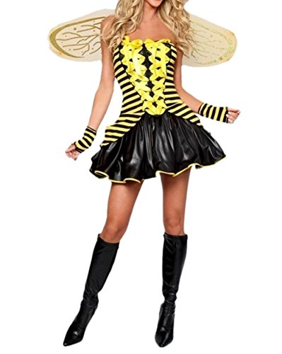 Prettycostume Women's Cute Sexy Honey Bumble Bee Halloween Costume Party Outfit