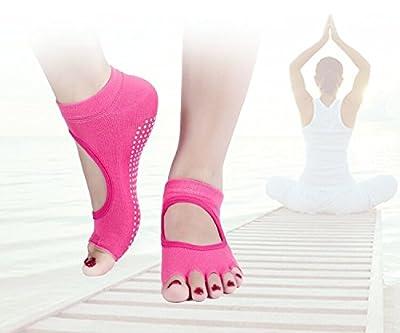Lystaii 3 Pairs Grippy Yoga Socks Fitness Cotton Barre Socks Random Color