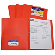 C-Line Two-Pocket Heavyweight Poly Portfolio with Prongs, For Letter Size Papers, Includes Business Card Slot, 1 Case of 25 Portfolios, Orange (33962)