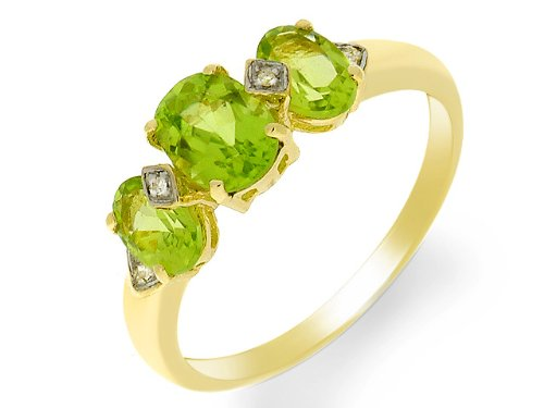 9ct Yellow gold Peridot and Diamond Ring - Size K
