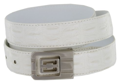 Leather Dress Belt, Bone colored Crocodile with Nickel Plated Channel Buckle (32)