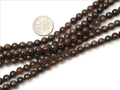 6mm round gemstone Bronzite beads strand 15