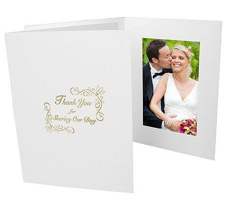 Wedding Thank You Gold Foil On White Cardboard Photo Folder Frame Our Price Is For 50 Pcs - 4X6