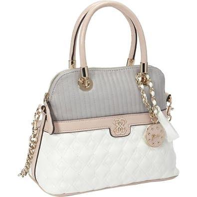 GUESS Merci small dome satchel (White Multi): Handbags