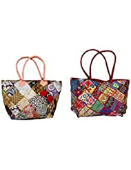 IndiWeaves Combo Offer Women's Multicolor Cotton Handbag (Combo Pack Of 2) - B01IVWIX4S