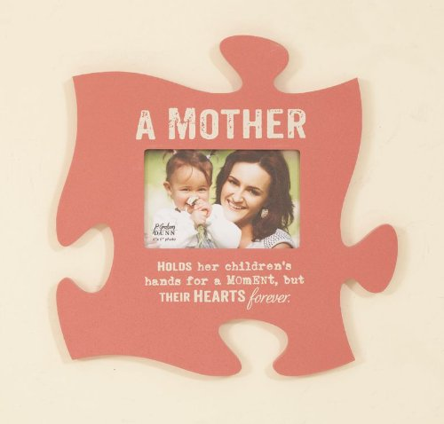 A Mother Holds Her Children's Hearts Pink 4x6 Photo Frame Puzzle Piece Wall Art Plaque (Picture Frame Puzzle compare prices)