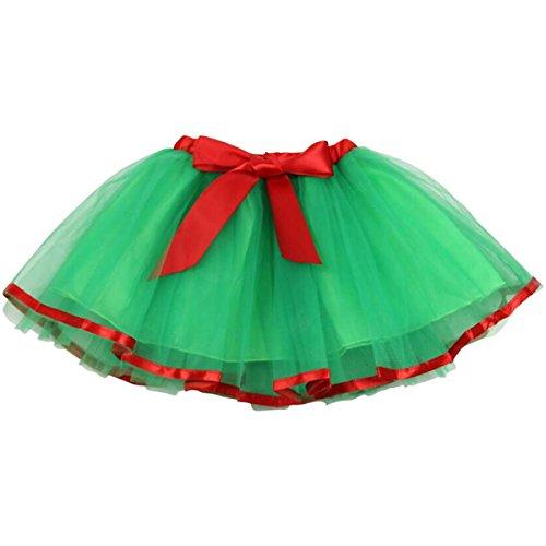 Jastore baby girls layered christmas green tutu skirt