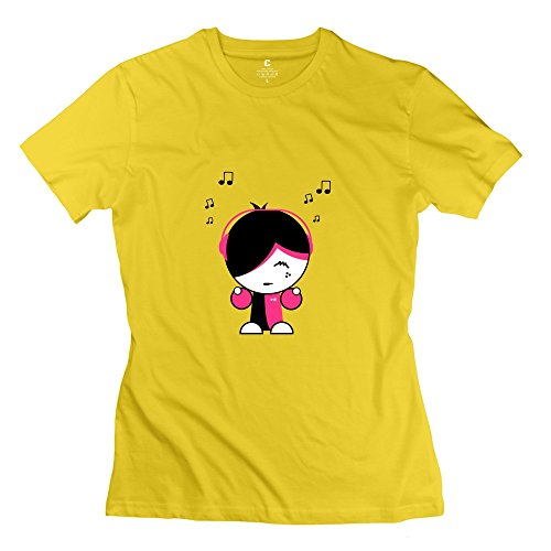 Linyang Women'S New Style Listen Music Song Play T Shirts S Yellow