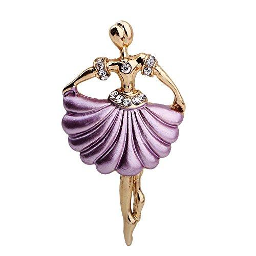 Romantic Time Scallop Selvedge Ballet Girl Dancing Brooch Pin