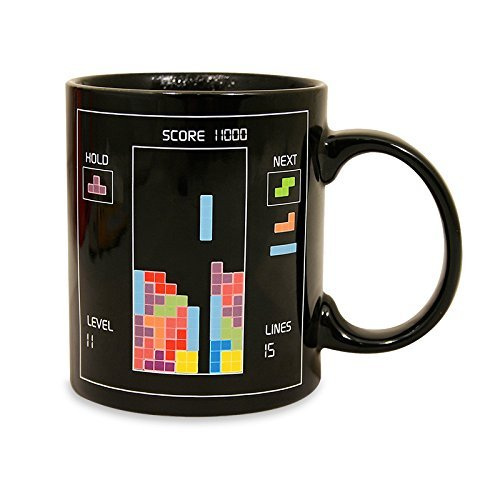 Heat Reactive Mugs,YiaMia® Tetris Heat Hot Changing Color Cups Heat Reactive Mugs Super Saiyan Ceramic Cups for hot milk coffee