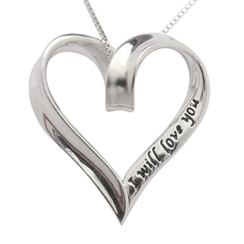 925 Sterling Silver I Will Love You Always & Forever Heart Necklace 18