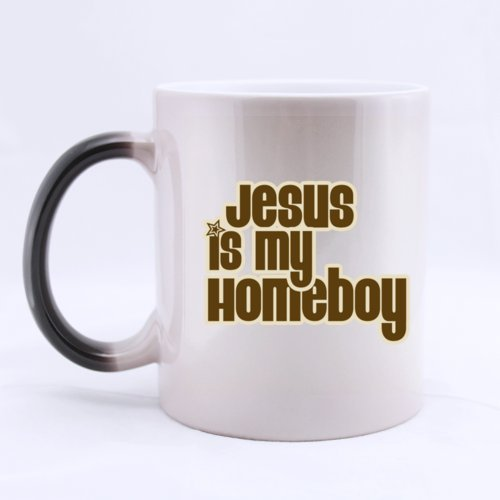 "Belief Christian Custom Simple Design ""Jesus Is My Home Boy"" Ceramic Morphing Home/Office Mug 11 Ounces Heat Sensitive Color Changing Mug - Great Gift Idea"