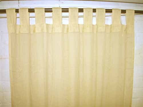 Ecru Cream Sheer 100% Cotton Gauze Tab Curtain, 44 Inches X 104 Inches