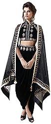 Begum Riwaaz Women's Georgette Unstitched Dress Material (12004, Black)