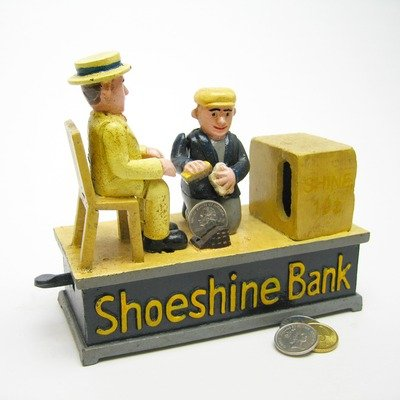 Design Toscano Shoe Shine Collectors Die Cast Iron Mechanical Coin Bank