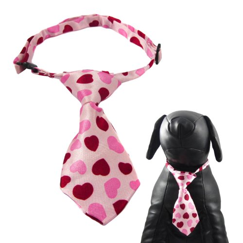 Alfie Couture Designer Pet Accessory - Qun Formal Dog Tie and Adjustable Collar - Color: Pink Heart, Size: 12