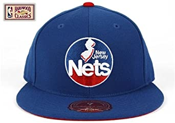 New Jersey Nets Blue HWC Logo Fitted Hat Cap by Mitchell & Ness