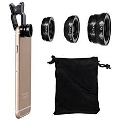 Universal 3 in 1 Cell Phone Camera Selfie Lens Kit 180° Fish Eye Lens / Macro Lens & 0.67x Wide Angle Lens(Black) Work with Apple iPhone / iPad, Samsung Galaxy S6, S7, Note5, LG G5, V10