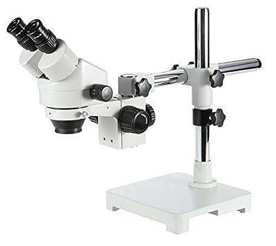 GOWE Single Arm Boom Stand Microscope 3.5X-45X Trinocular Stereo Zoom Microscope on Single Arm Boom Stand