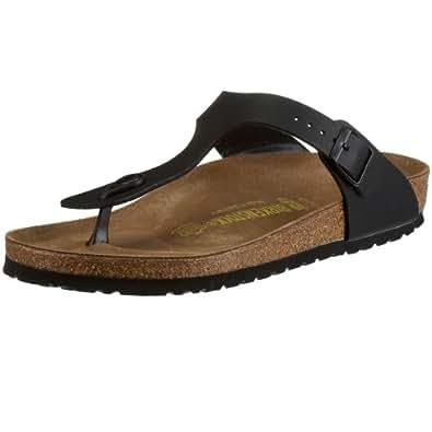 BIRKENSTOCK Womens Gizeh Ladies Black Patent Footbed Toepost Sandal 2.5
