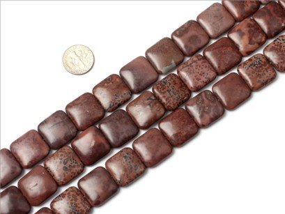 18mm square gemstone picture jasper beads strand 15