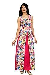 Femeie Apparel Women's Floral Print Heavy Silk And Cotton Dress(FLORALHEAVYSILK_PINK_BLUE_PARROT)