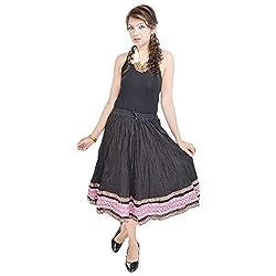 Prateek Retail Rajasthani Ethnic Black Cotton Short Skirt