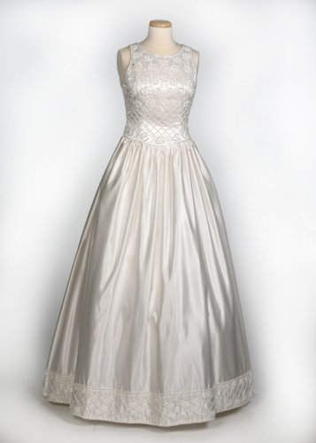 White Crystal Satin Wedding Gown w/ Detachable Train