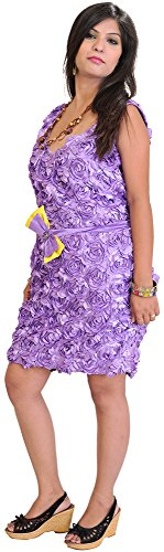 Exotic India Barbie Midi-Dress With Applique Flowers And Embroidered Sequins