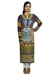 Kaarvaan Women's Georgette Unstitched Dress Material(C-2177_Brown_FreeSize)