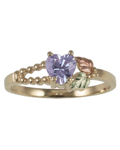 Womens 10k Yellow Gold, 12k Pink Gold, 12k Green Gold, Violet Heart CZ Black Hills Gold Motif Ring, Size 5.5