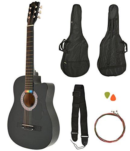 Chitarra acustica Western completa di borsa, corde sostitutive colorate e plettri. Qualitá standard. Color nero. Dimensioni regolari.