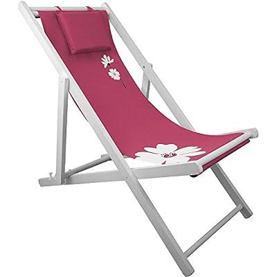 Liegestuhl 4-fach verstellbar Campingstuhl Strandstuhl Gartenstuhl Klappstuhl Strandliege Campingliege - Pink von Multistore 2002 auf Gartenmöbel von Du und Dein Garten
