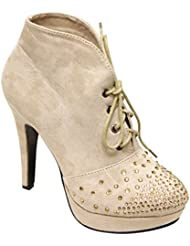 Top Moda Lady-18 Women S Bead Studded Almond Toe Lace Up High Top High Heel Suede Booties
