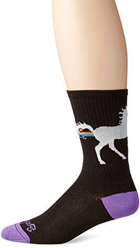 SockGuy Men's Unicorn Express Socks, Black, Large/X-Large (Cycling Sock Guy compare prices)