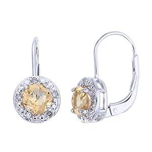 Vir Jewels Sterling Silver Citrine and Diamond Dangle Earrings (1.80 CT)
