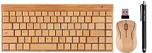 Smart Tech Small 88 keys Handcrafted Natural Bamboo Wooden PC Wireless 2.4GHz Keyboard and Mouse Combo + Free Smart Tech Touch Pen