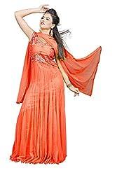 Angel Garments Orange Nayloan net Anarkali Salwar Suit(Orange)