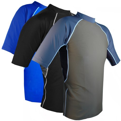 Rashguard Shirt Mens Short Sleeve UV Sun Protective