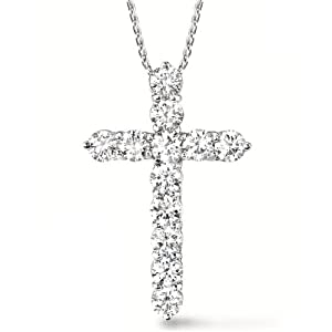 Diamond Cross Pendant Necklace 14k White Gold (3.00ct)