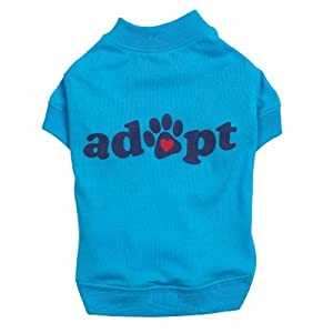 Casual Canine Polyester/Cotton Adopt Dog Tee, Small, 12-Inch, Blue