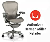 Hot Sale Herman Miller Aeron Chair Highly Adjustable with PostureFit Lumbar Support and Adjustable Arms - Small Size (A) Smoke Titanium Frame, Tuxedo White Gold Pellicle Mesh Home Office Desk Task Chair