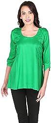 Belinda Women's Pleated Tops (TP01_GN , Green, XL)